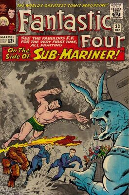 Origin and First Appearance, Attuma, Fantastic Four #33, Marvel Comics, 1964. Click for value