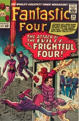 Origin and First Appearance, Frightful Four, Fantastic Four #36, Marvel Comics, 1966. Click for value