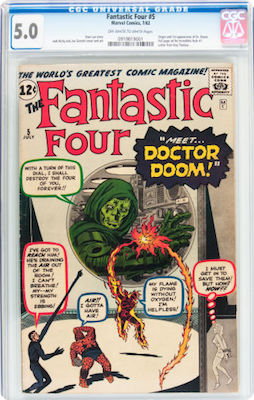 Fantastic Four #5 is so often beaten to heck when we buy it. Look for a really clean CGC 5.0 copy. They cost about 50 percent more than a 2.5 but look SO much nicer. Click to buy one