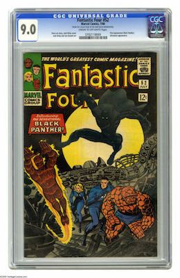 The mostly black cover of Fantastic Four #52 makes finding a copy in high grade a challenge. Look for a CGC 9.0. Click to buy a copy