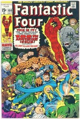 In common with many Marvel comics, Fantastic Four #100 is a milestone. It's celebrated with a smattering of all past villains and friends. Click for value