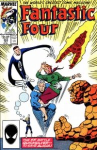 The departure of the married couple, Mr. Fantastic and the Invisible Woman, in Fantastic Four #304