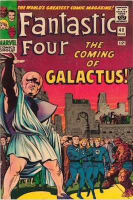 Hot Comics #25: Fantastic Four #48, 1st Silver Surfer and Galactus. Click to buy a copy