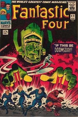 Fantastic Four #49 is the second in the trilogy of Galactus and Silver Surfer storyline issues. It is much scarcer than #48, though prices don't really reflect this! Click for values