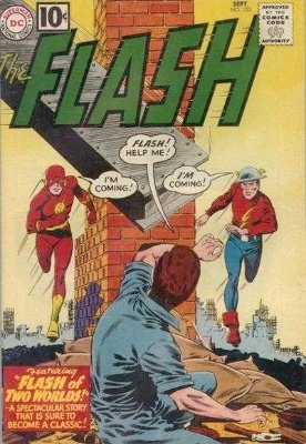 Flash #123: Flash of Two Worlds was a groundbreaking story idea, Golden Age vs Silver Age Flash. Click for values