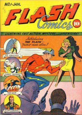 Flash Comics #1: Origin and First Appearance, Johnny Thunder. Click for values