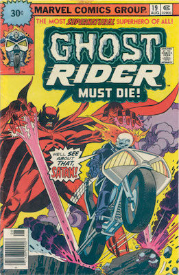Ghost Rider #19 Marvel 30c Variant August, 1976. Starburst Flash