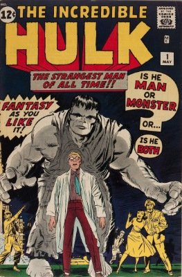 Incredible Hulk #1 1962: origin and first appearance, gray hulk skin. Click for values