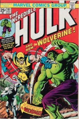 First Appearance, Wolverine, Incredible Hulk #181, Marvel Comics, 1974. Click for values