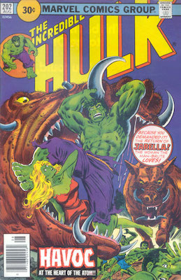 Incredible Hulk #202 Marvel 30c Variant August, 1976. Price in Circle