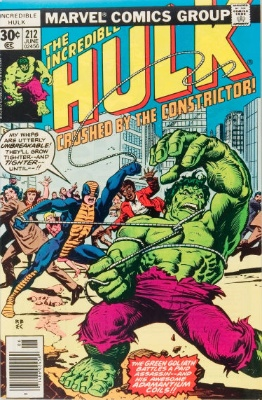 Origin and First Appearance, Constrictor, Incredible Hulk #212, Marvel Comics, 1977. Click for value