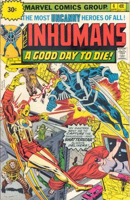 Inhumans #4 30c Variant Edition April, 1976. Price in Starburst