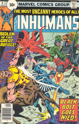 Inhumans #6 30 Cent Variant August, 1976. Circle Price
