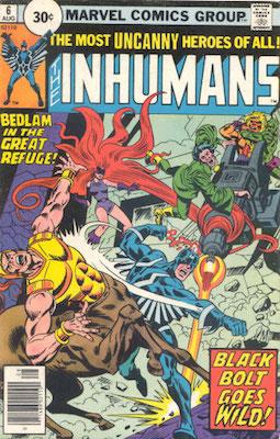 Inhumans #6 30 Cent Variant August, 1976. Circle Price
