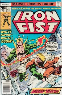 Hot Comics #21: Iron Fist #14, 1st Sabre-Tooth. Click to buy a copy