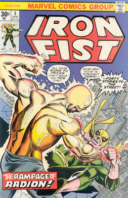 Iron Fist #4 Marvel 30 Cent Variant April, 1976. Regular Price Box