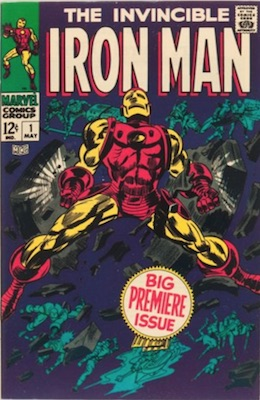 Iron Man comic #1 (1968). First Iron Man in his own comic and first red and gold suit, classic cover too!
