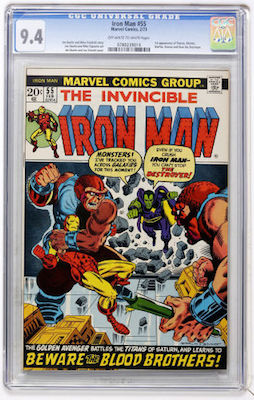 Looking to invest in a copy of Iron Man #55? Stick to white pages and CGC 9.4 examples and you won't go wrong. Click to buy a copy