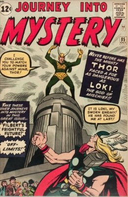 The Ultimate in Thor Villains: Loki (First Appearance: Journey Into Mystery #85, October, 1962). Click for value