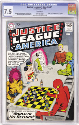 Not everybody will be able to afford a CGC 7.5 copy of Justice League of America #1, but if you can, it's a great investment. Click to buy