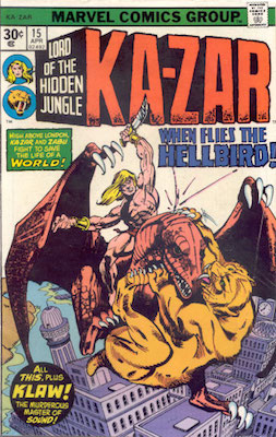 Ka-Zar #15 Marvel 30 Cent Price Variants April, 1976. Regular Price Box