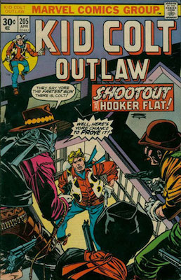 Kid Colt Outlaw #205 Marvel 30 Cent Variant April, 1976. Regular Price Box
