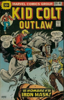 Kid Colt Outlaw #206 30c Price Variant May, 1976. Starburst Price