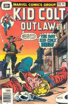 Kid Colt Outlaw #208 30c Price Variant July, 1976. Starburst Flash