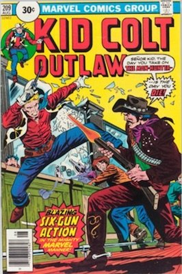 Kid Colt Outlaw #209 Marvel 30 Cent Price Variants August, 1976. Price in Circle