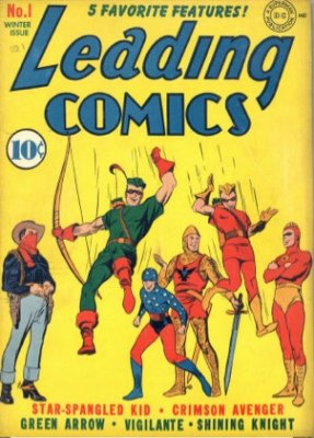 Leading Comics #1 (1942): 1st Green Arrow Comic Cover, First Appearance of Seven Soldiers of Victory. Click for values