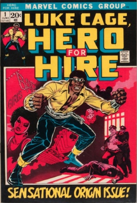 Origin and First Appearance, Luke Cage (Power Man),  Luke Cage, Hero For Hire #1, Marvel Comics, 1972. Click for value