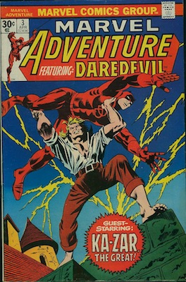 Marvel Adventure Featuring Daredevil #3 30c Price Variant Edition, April, 1976. Regular Price Box