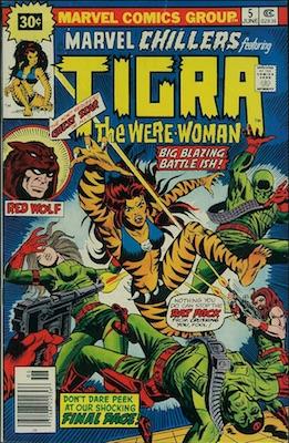 Marvel Chillers #5 Marvel 30c Price Variants June, 1976. Starburst Flash