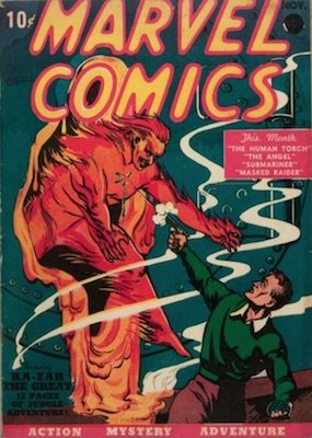 Marvel Comics #1 from 1939. The series was renamed Marvel Mystery Comics. Click for full price guide