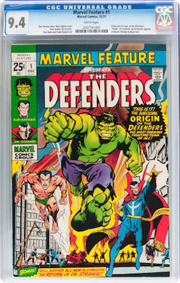 While 9.6 and 9.8 copies are probably beyond most people's reach, Marvel Feature #1 in CGC 9.4 is not much more expensive than a 9.2. Click to find yours