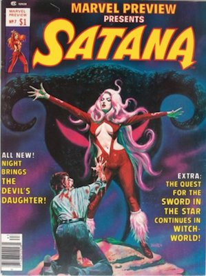 Marvel Preview #7 (1976): 1st Appearance Satana; 1st Rocket Raccoon. Click for value