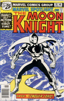 Marvel Spotlight #28, 1st Solo Moon Knight story. Click for values