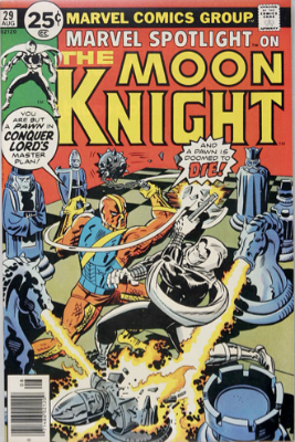 Marvel Spotlight #29, August, 1976: Moon Knight. Click for value