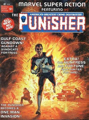 Marvel Super Action #1: Classic Painted Punisher Cover. Click for values
