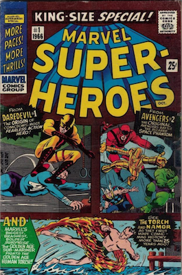 Marvel Super-Heroes #1 (1966): Reprints various issues, including Captain America Comics #3, Stan Lee's first story for Marvel. Click for values