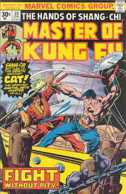 Master of Kung-Fu #39 30 Cent Price Variant April, 1976. Regular Price Box