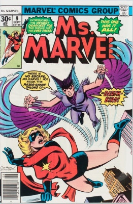 Ms Marvel appearing with other Marvel Comic Superheroes