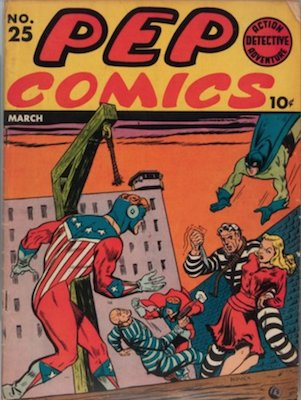 PEP Comics #25: First Archie's Jalopy; 1st Skinny Mr. Weatherbee prototype. Click for value