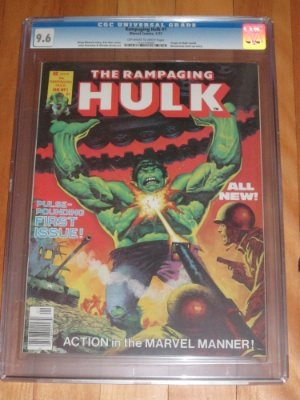 Rampaging Hulk #1. This obscure series of magazines fills in the gaps in the 'lost' years when Incredible Hulk Comic was not published. Click for values