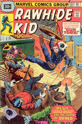 RARE! Rawhide Kid #133 Marvel 30c Price Variant May, 1976. Starburst Flash