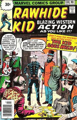 RARE! Rawhide Kid #134 Marvel 30 Cent Price Variant July, 1976. Starburst Box