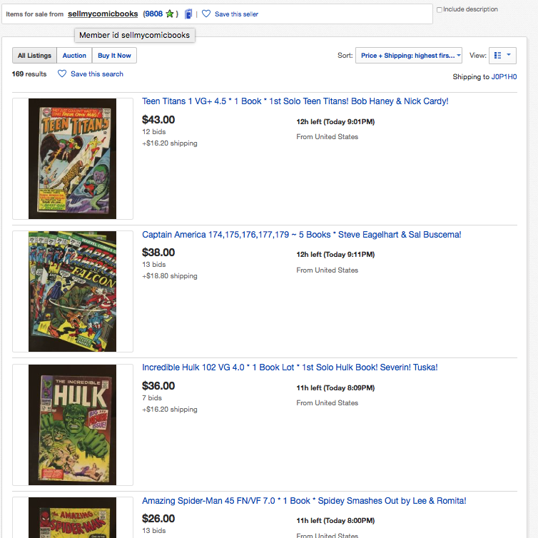 Right Now on eBay, Our Comic Books For Sale
