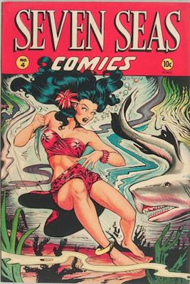 Seven Seas comic #4: classic Matt Baker cover. Click for values