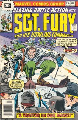 Sergeant Fury #134 30c Price Variant July, 1976. Price in Starburst