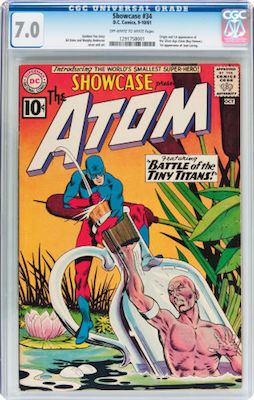 Showcase #34 (1st Atom in the Silver Age) is best bought in CGC 7.0 with off-white or better pages. Click to find yours